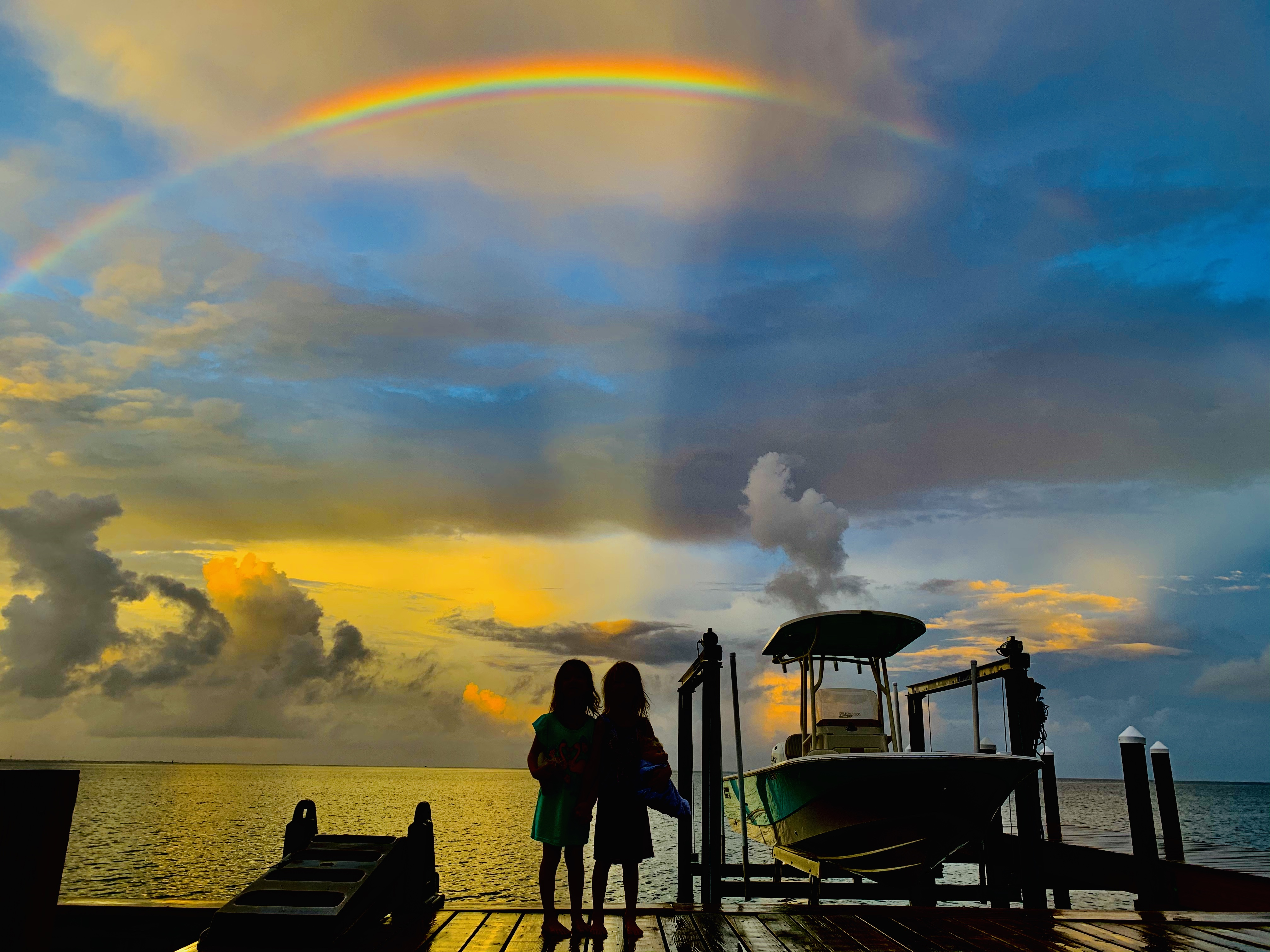 Sunset and Rainbow over the Pamlico Sound in Brigands Bay Frisco